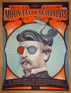 "Moon Taxi and the Revivalists - silkscreen April concert tour poster (click image for more detail) Artist: Status Serigraph Venue: Multi-Venue Location: Multi-City Concert Date: 4/3-19/2014 Size: 18"""
