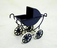 Dolls House Miniature 1:12 Scale Nursery Furniture Navy and Cream Baby's Pram