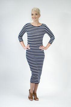 Midi Dress in Navy Stripe