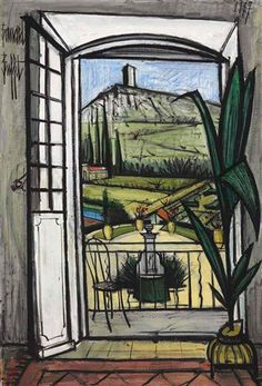 "Bernard Buffet (French, 1928-1999) - ""La Baume, fenêtre ouverte sur la fontaine"" (La Baume, open window on the fountain), 1987"