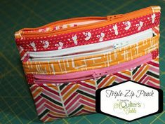 "Brilliant ""Triple-Zip Pouch"" tutorial from A Quilter's Table. For visual detail on the final step, check http://www.marcigirldesigns.com/blog/triple-zip-pouch-an-alternate-ending-tutorial"