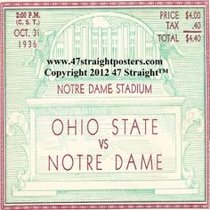 1936 Ohio State vs. Notre Dame Football Ticket Coasters.™ Last minute gift ideas. Last minute Father's Day Gifts, Best last minute gift ideas. Ceramic drink coasters made from over 2,000 historic college football tickets and other vintage sports art. #lastminutegifts $29.99 Printed in the U.S.A and shipped within 24 hours. #collegefootball #gifts #footballtickets
