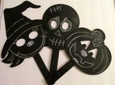 Chalkboard Halloween Pumpkin Cut Out Mask Photo Prop , Halloween Prop , Party.