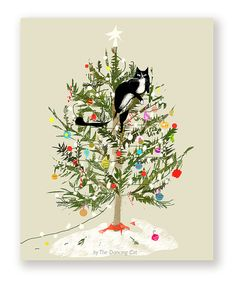 Funny Christmas Card  Christmas Tree Cat  by jamieshelman on Etsy