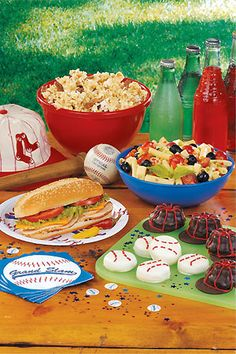 Make your next picnic baseball-themed. Try customizing the meal with Boomers-colored treats