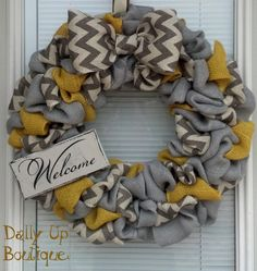 Burlap Wreath - Yellow, Gray and White/Gray Chevron- Home Decor - Fall burlap Wreath - Everyday Wreath