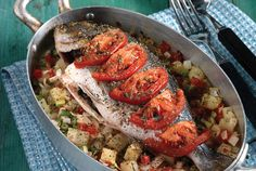 Yummy Grouper baked with vegetables! It`s very easy recipe and tasty greek seafood ! Greek Recipes, Fish Recipes, Seafood Recipes, Cooking Recipes, Healthy Recipes, Recipies, Greek Cooking, Gastronomia, Kitchens