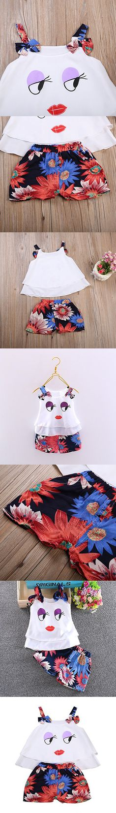 2 Pcs Baby Girls Lovely Eyes Lips Halter Sleeveless Shirt + Floral Shorts Pants Clothing Sets (6-18M, Purple)
