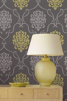 A contemporary twist on a classic,a mod damask design wallpaper