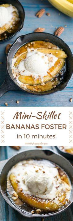 New Orleans inspired date-night dessert in 10 minutes! Bananas, rum caramel sauce and ice cream. Make Bananas Foster Mini Skillet Flambé for Fat Tuesday Mardi Gras. thekitchengirl.com