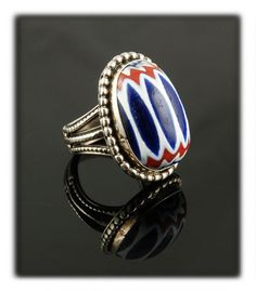 Authentic Chevron Trade Bead Ring by Dillon Hartman