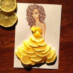 Il dessine des robes à l'aide de nourriture. Robe en épluchure de citrons. | fénoweb