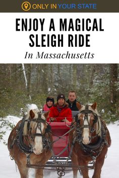 Relax and enjoy the beautiful scenery as you take a magical winter sleigh ride at this Massachusetts Ranch. It's a charming adventure for friends and family and equally perfect for a romantic date. Couples even get engaged on this ride! Winter Fun, Winter Travel, Romantic Dates, Country Charm, Haunted Places, Beautiful Scenery, Hot Springs, Massachusetts, Travel Ideas