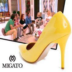 "Katerina Zarifi on ""Eleni"" wearing MIGATO SS2014 collection yellow patent pumps, product code ES21."