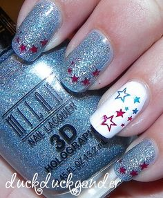 fourth of july star red white blue nails manicure 4th of july 1 by duckduckgander, via Flickr