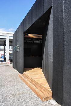 Entrance Design, Facade Design, Black House Exterior, Interior And Exterior, Villefranche Sur Saône, Terrace Building, Pavillion, Retail Facade, Warehouse Design
