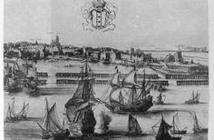 Amsterdam, 1657 tekening van Jean Baptiste Bonnecroy. De Westelijke Eilanden met in het midden het Bickerseiland. Rechts daarvan twee dubbele ophaalbruggen; de eerste, de Zandhoeksbrug tussen Bickers- en Realeneiland. Tussen de twee bruggen de Zandhoek en rechts daarvan de Petemayenbrug over de Zoutkeetsgracht naar de schans.