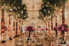 decoracao-aerea-folhagens-velas-decoracao-rosa-casamento