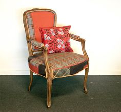 Chair dressed with tweedjacket and other fabrics.  www.Davids-Redesign.dk