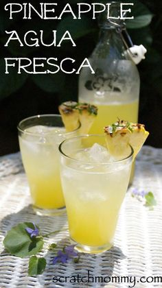 Pineapple Agua Fresca {Honey Sweetened + Coconut Water} - Recipes to Nourish Refreshing Drinks, Yummy Drinks, Healthy Drinks, Healthy Nutrition, Healthy Eating, Juice Smoothie, Smoothie Drinks, Smoothies, Mexican Food Recipes