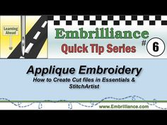 Embrilliance Quick Tip #6 - How to create cutting files from applique em...