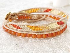 Tangerine Red Sea Glass Bracelet Beaded Leather Wrap by PinaHina