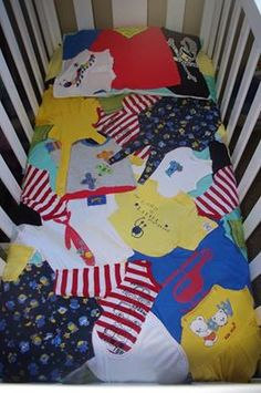 cot size throw and toddler size pillow case made from children's recycled clothes. keepsake