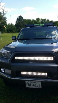 415 led light bar mounted on stock roof rack toyota 4runner dual light bars in my grille projector retrofit and halos mozeypictures Choice Image