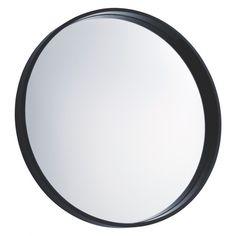 AIMEE Black round wall mirror D65cm