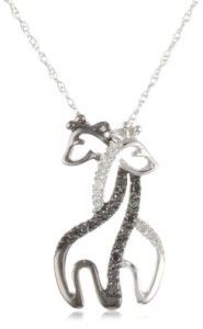 0.1 CT Diamond White Gold Two Giraffes Necklace