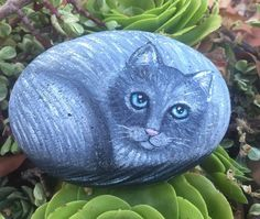 Painted Cat On A Rock - Cat Painting - painted rock - createdcanvases - C Michel  | eBay