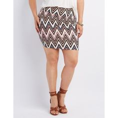Charlotte Russe Printed Mini Skirt ($14) via Polyvore featuring plus size women's fashion, plus size clothing, plus size skirts, plus size mini skirts, multi, body con mini skirt, plus size short skirts, short skirts, short mini skirts and embellished skirt