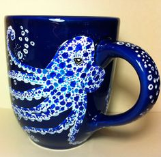 The Deep  Octopus and Jellies Handpainted 18ounce by InkyDreamz, $25.00