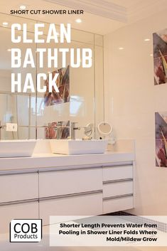 Short-Cut Shower Liner in Clear or White Bathroom Cleaning Hacks, Deep Cleaning, Spring Cleaning, Clean Bathtub, Bathtub Shower, Amazing Bathrooms, White Bathrooms, Simple Hack, Tub Cleaner