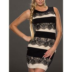 Sophisticated Scoop Neck Sleeveless Bodycon Lace Spliced Women's Dress, WHITE AND BLACK, L in Bodycon Dresses | DressLily.com