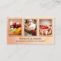 Bakery Business Cards, Vintage Business Cards, Gold Business Card, Catering Business, Cute Bakery, Cupcake Bakery, Sweet Bakery, Bakery Cakes, Sand Dessert