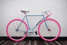 Blue bike , pink wheels...awesome