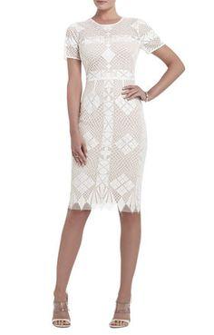 White Embroidered Samara Engineered-Lace Sheath Dress | BCBG $400