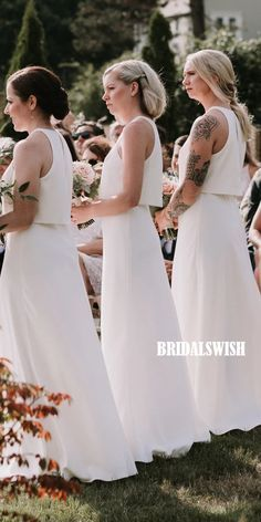 Elegant Two Pieces Sleeveless Chiffon A-line Backless Bridesmaid Dresses, Backless Bridesmaid Dress, Mermaid Bridesmaid Dresses, Bridesmaids, Wedding Dresses, Inexpensive Bridesmaid Dresses, Chiffon, Elastic Satin, How To Make Shoes, Trends