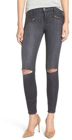 Love the zipper detail on these jeans on sale! Current/Elliott 'Soho Zip' Distressed Skinny Jeans (Caliber Destroy)