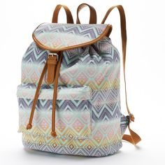 Candie's Riley Pastel Aztec Backpack (Purple) ($30) ❤ liked on Polyvore featuring bags, backpacks, purple, aztec backpack, shoulder bags, military rucksack, pattern backpack and zipper backpack