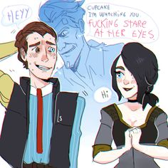 """theangrylesbians: """" AU where Angel is alive and rhys has a crush on her """""""