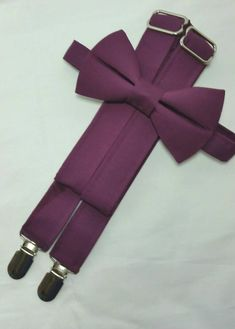 Sangria Suspenders and Sangria Bow Tie. Bridal Color Sangria. Sizes Infant-Adult. Free Fabric Sample Available.