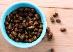 Roasted edamame, with olive oil, sea salt and cayenne.