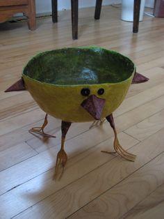 Bird bowl  Paper Mache  designed/made by Dee Beals