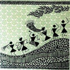 theme of warli on circle frame Worli Painting, Fabric Painting, Saree Painting, Madhubani Art, Madhubani Painting, Traditional Paintings, Traditional Art, Decoupage, Indian Folk Art