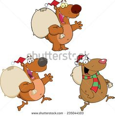 Bear Cartoon Characters With Christmas Bag.. Raster Collection Set