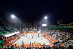 The Olympic beach volleyball arena is seen in an overall view while Russia plays Netherlands during a men's beach volleyball match at the 2016 Summer Olympics in Rio de Janeiro, Brazil, Saturday, Aug. 6, 2016.