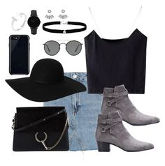 """""""Untitled #3308"""" by theaverageauburn on Polyvore featuring Topshop, Yves Saint Laurent, Chloé, Monki, Ray-Ban, Belkin, Amanda Rose Collection, CLUSE and Aéropostale"""