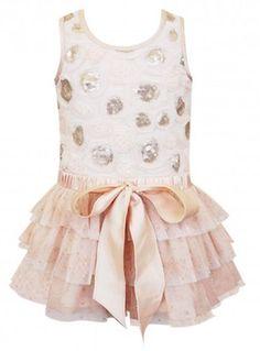 Baby Sara - Sleeveless Ruffle Dress in Gold